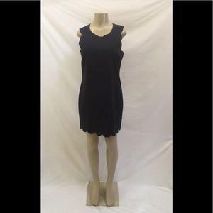 J. Crew Size 10 Navy Blue Scalloped Sheath Dress